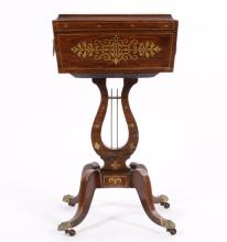English Brass Inlaid Mahogany Teapoy, 18/19 C.
