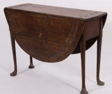 English Oak Carved Oval Drop Leaf Table,18th C.