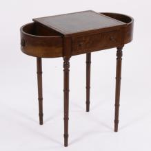 English Mahogany Plant Stand, 19th C., Leather Top