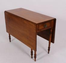 American Curly Maple Drop Leaf Table, E. 19th C