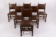 6 English Oak Side Chairs, Leather w Brass Tacks
