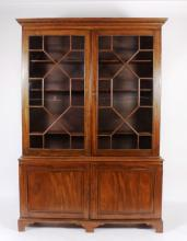 19th C. English Mahogany/Glass Tall Bookcase