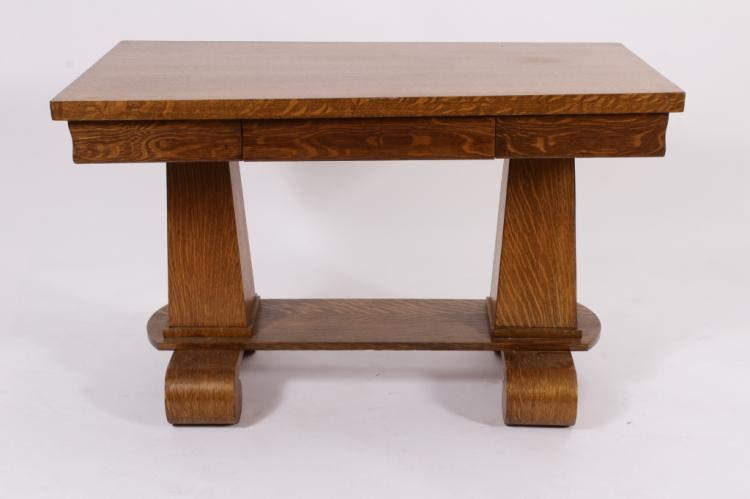 classic revival oak library table c 1905