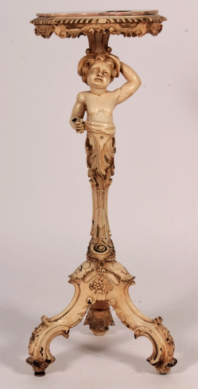 Stand with putto and marble top 19th 20th c for Table th visible