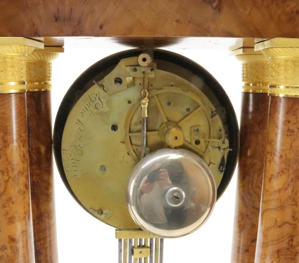 CHARLES X ORMOLU & BURL MANTEL CLOCK, 19TH C.