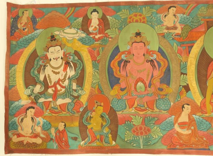 Tibetan buddha deities mural tempera fabric for Chinese mural painting
