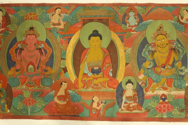 Tibetan buddha deities mural tempera fabric for Buddha mural art