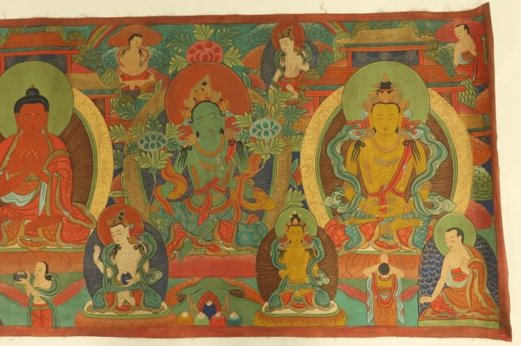 Tibetan buddha deities mural tempera fabric for Aithihya mural painting fabrics