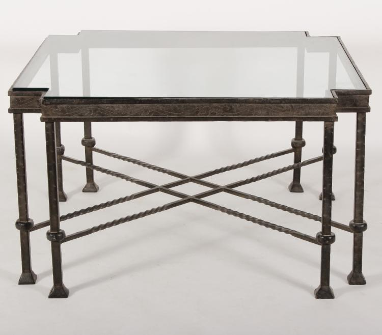 Contemporary Wrought Iron/Glass Cocktail Table