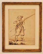 After Jacob de Gheyn II,Musketeer,ink/pencil paper