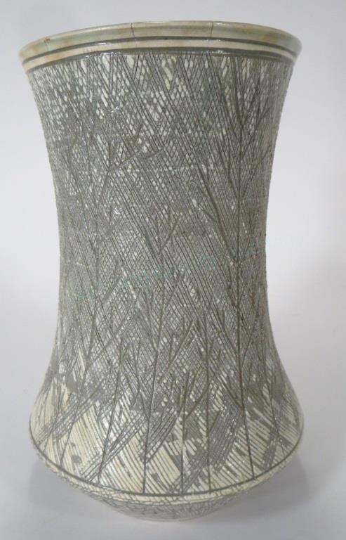 Shin Sang Ho, Korean,Ceramic Vase Twig Motif