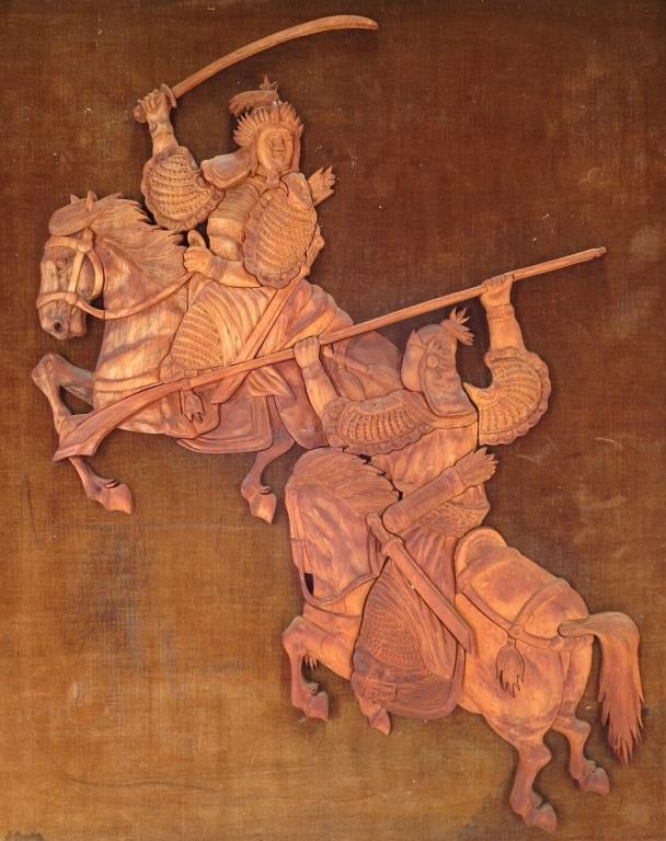 Dueling Warriors, Carved Cedar Reliefs, Framed