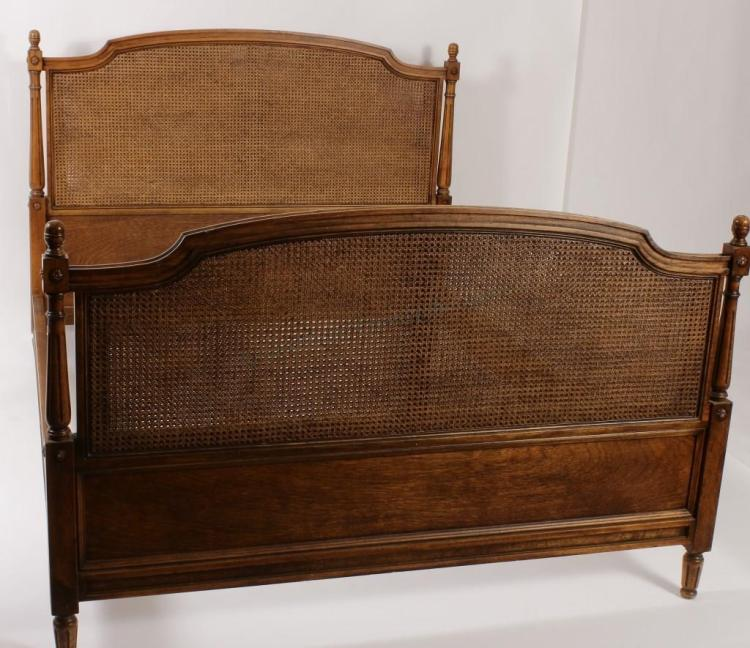Louis XVI Style Wood/Cane Queen Bed