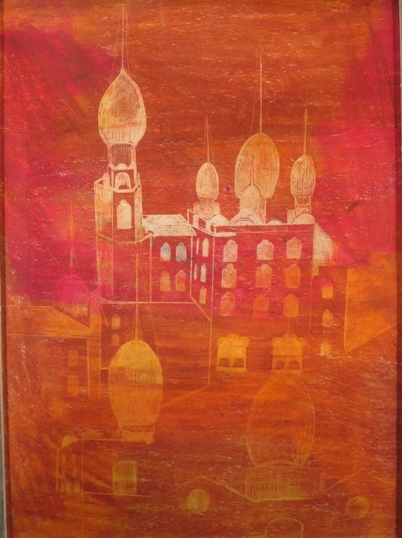 H. Y.  Amin, Egypt,1904-1984, Red Minarets,Gouache