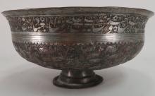 Mughal Indian Copper Bowl w Hunt Scene, 19th C.