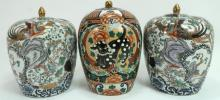 Lot of 3 Covered Jars; Phoenixes & Foo Lion