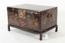 Lacquered Pigskin Asian Box, 19th c.