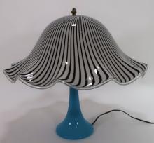 Italian Murano Cased Swirl Glass Lamp Opaline Base