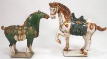Two Tang Style Glazed Pottery Horses