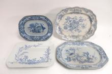 4 English Ironstone Blue & White Platters, 19th C.