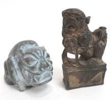Chinese Bronze Foo Lion and Japanese Stone Dog