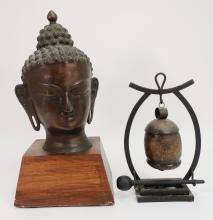 Thai Bronze Buddha Head & Japanese Bell