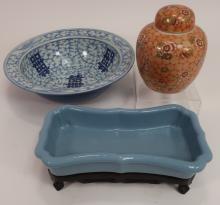 Chinese Jardiniere, Wedding Bowl & Covered Jar