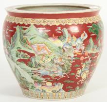 Large Chinese Fishbowl/Jardiniere, Figural Scenes