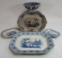 5 Pieces of English Blue & White Ironstone,19th C.