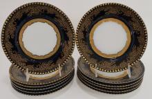 Twelve Cobalt and Gilded Limoges Dessert Plates