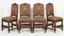 Set of 4 Renaissance-Style Side Chairs, 20th c.