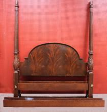 Baker Queen Size Mahogany Carved 4 Poster Bed