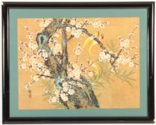 Asian Flowering Tree Exotic Birds Gouache on Cork