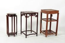 3 Chinese Hardwood Stands, 20th C.