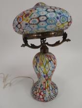Italian Millefiori Table Mushroom Lamp