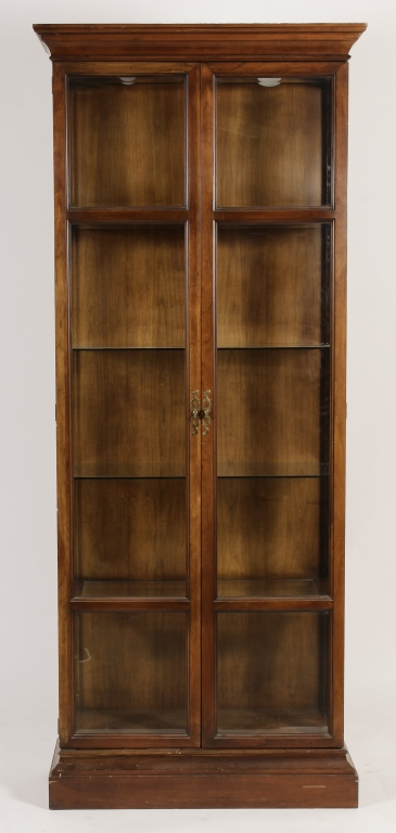 Walnut Display Cabinet W Glass Shelves 20th C