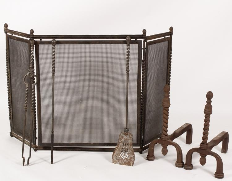 Forged Iron Fireplace Screen : Hand forged iron fireplace screen and tool set