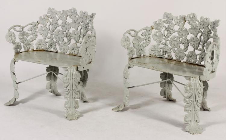 Two cast iron benches grapes leaves motif for Grapes furniture and home decor