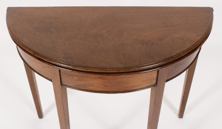 Mahogany demilune flip top table 19th c for Table th rotate