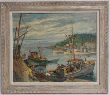 George Baer - Unloading Fishing Boats, O/M