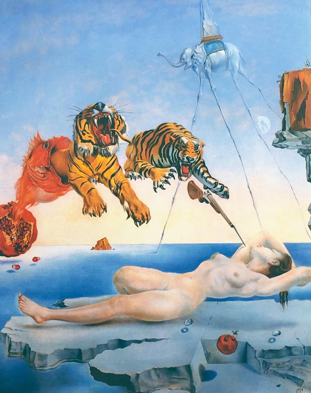 """Salvador Dalí - """"Sueño causado por el vuelo de una abeja alrededor de una granada""""."""