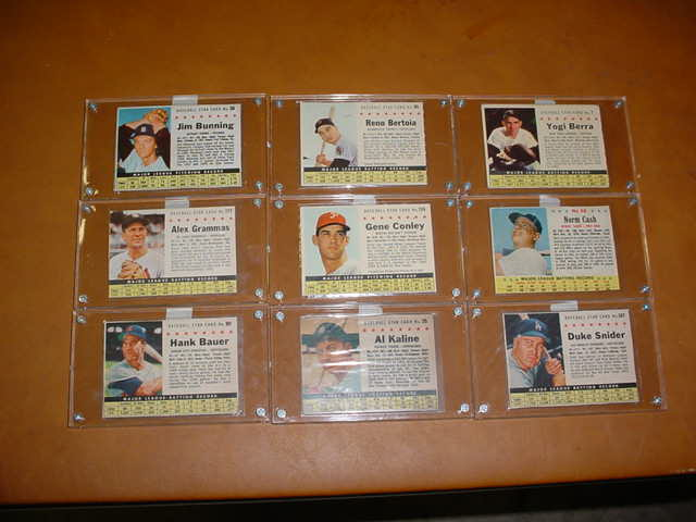 9 each Baseball Star Cards
