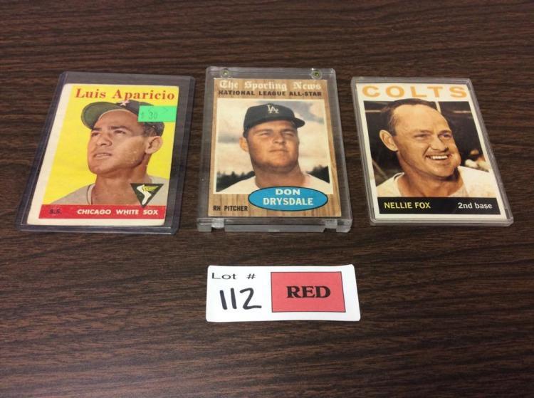 (3) 50's - 60's Topps Baseball Cards - For One Money