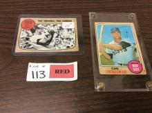 (2) 1968 Topps Carl Yastrzemski Cards (Player Card and World Series Card)