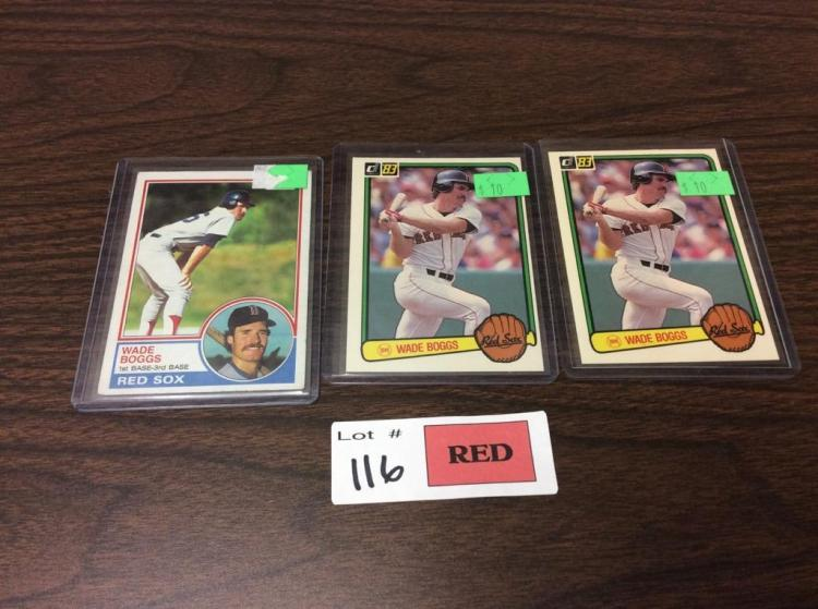 (3)1983 Topps/Donruss Wade Boggs Baseball Cards RC's