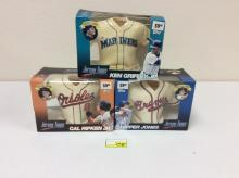 3 Topps 1999 Jersey Topps, Inaugural Edition - Ken Griffey Jr., Cal Ripken Jr., and Chipper Jones