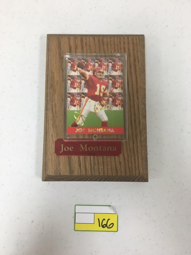 Joe Montana Trading Card Mounted on 8x4 Plaque