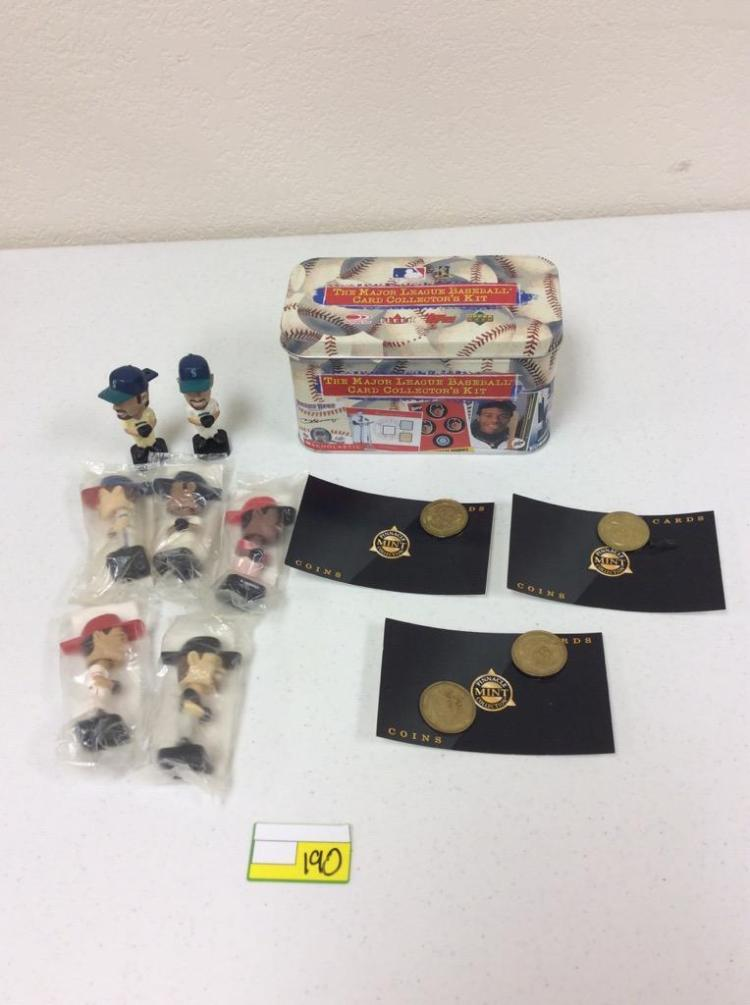The MLB Collector's Kit Tin w/ 7 Mini Bobbleheads (Ichiro x2, Smoltz, Martinez, Griffey, Glaus, and Bagwell) and 4 Pinnacle Mint Coins (Ripken, Sosa, Griffey, and Guerrero)