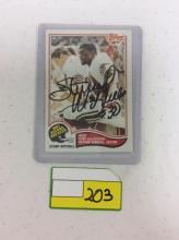 1982 Autographed Topps #4 Record Breaker - Stump Mitchell
