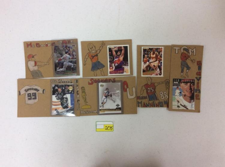 Misc. Topps, Fleer, Leaf, and NFL Trading Cards on Hand-drawn Backgrounds